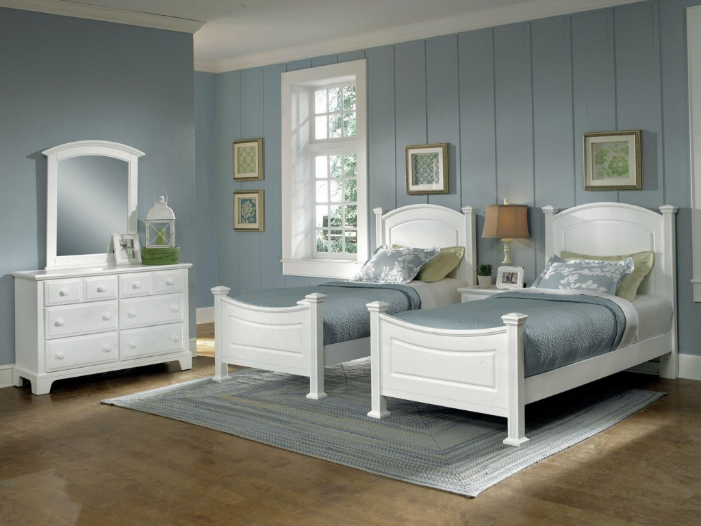 2 Panel Beds Shown with Dresser, Mirror, and Night Stand