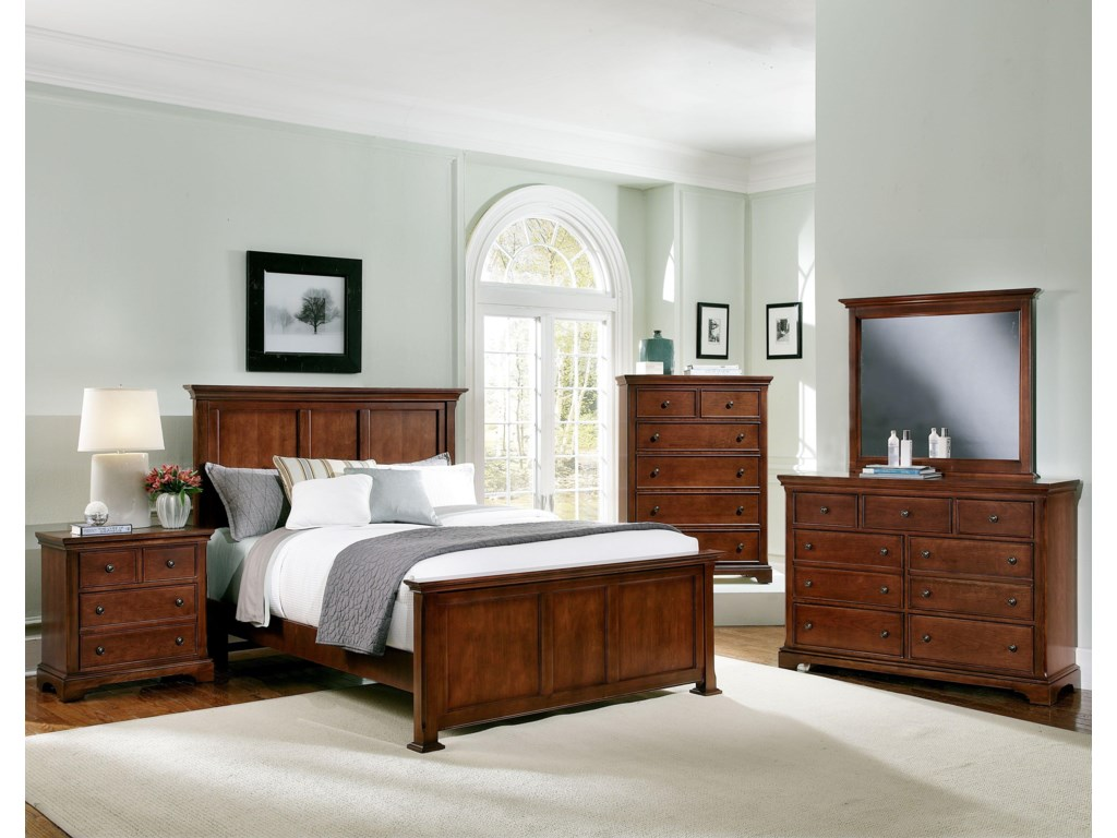 Shown with Coordinating Night Stand, Panel Bed, and Dresser with Mirror Combination