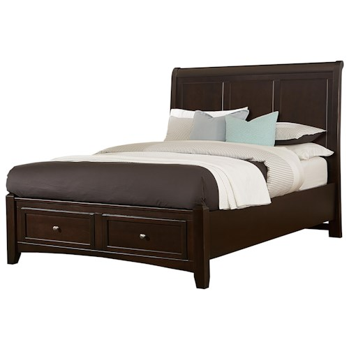Vaughan Bassett Bonanza Queen Sleigh Storage Bed with 2 Drawers