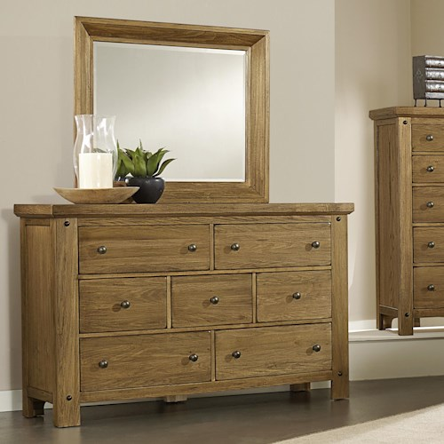 Vaughan Bassett Collaboration Rustic Dresser & Mirror