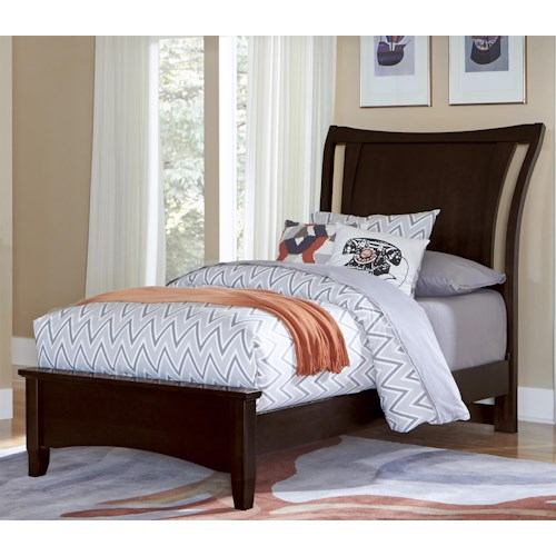 Vaughan Bassett Commentary Twin Wing Bed with Low Profile Footboard