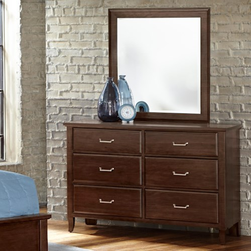 Vaughan Bassett Commentary Dresser - 6 drawers & Youth Landscape Mirror