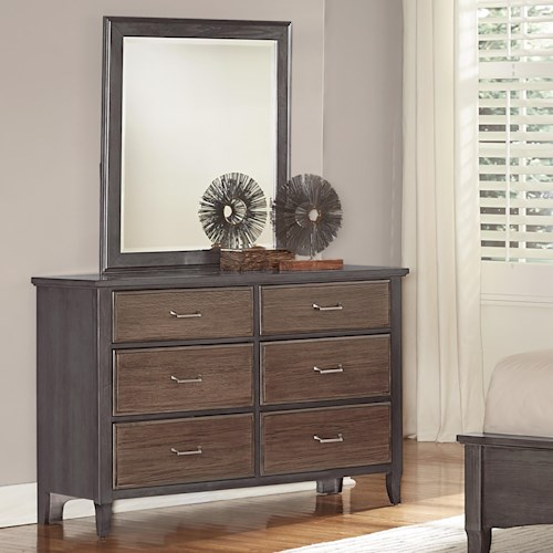 Vaughan Bassett Commentary Two-Tone Dresser - 6 drawers & Youth Landscape Mirror