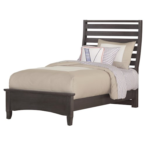 Vaughan Bassett Commentary Twin Benchback Bed with Low Profile Footboard