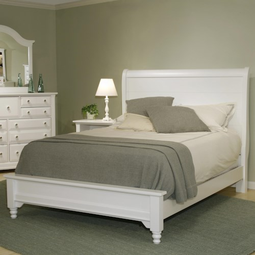 Vaughan Bassett Cottage Twin Sleigh Bed w/ Low Footboard