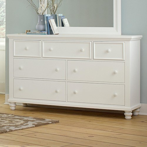 Vaughan Bassett Ellington 7-Drawer Triple Dresser with Felt Lined Top Drawers