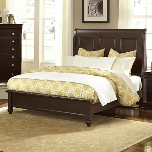 Vaughan Bassett French Market King Bed w/ Sleigh Headboard & Low Profile Footboard