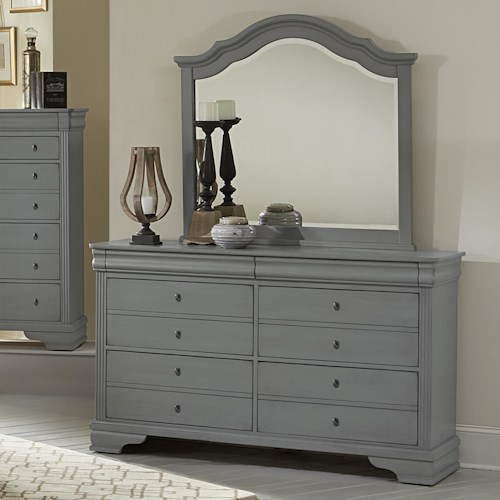 Vaughan Bassett French Market Dresser & Arched Mirror