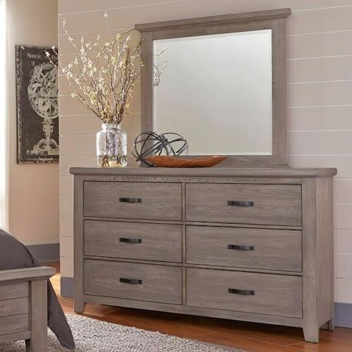 Vaughan Bassett Cassell Park Dresser with Six Self-Closing Drawers and Landscape Mirror