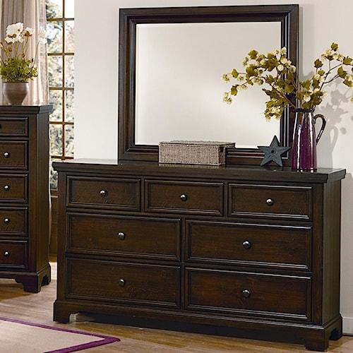 Vaughan Bassett Hanover 7 Drawer Dresser & Landscape Mirror Set