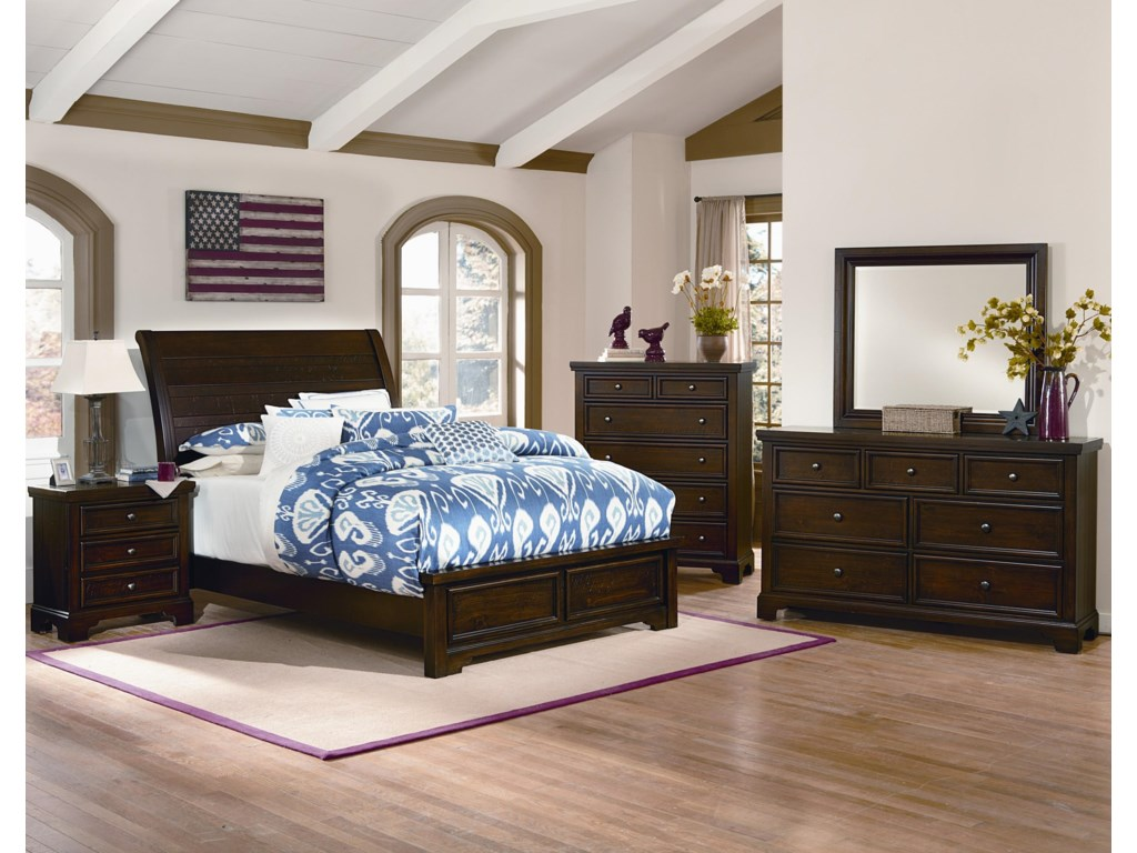 Shown with Low Profile Bed, Nightstand, Dresser and Landscape Mirror.