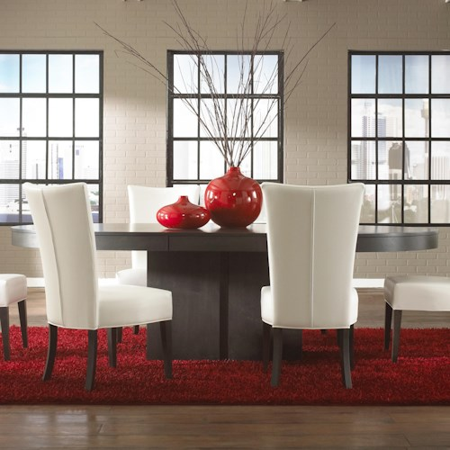 Canadel High Style - Custom Dining Contemporary Customizable Oval Table with Pedestal Base