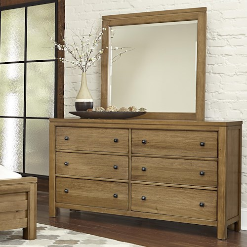 Vaughan Bassett Kismet Contemporary 6-Drawer Dresser & Mirror