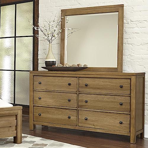 Vaughan Bassett Kismet Contemporary 6-Drawer Dresser & Mirror