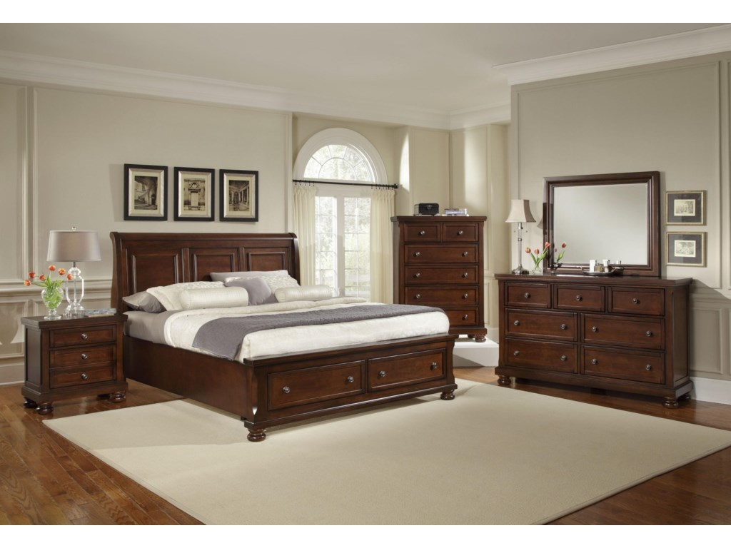 Shown with Night Stand, Chest, and Dresser with Mirror Combination
