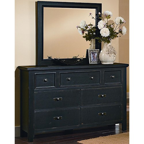 Vaughan Bassett Timber Mill Dresser With 7 Drawers And Landscape Mirror With Reclaimed Wood Look