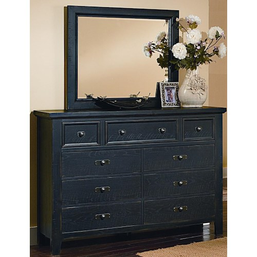 Vaughan Bassett Timber Mill Reclaimed Look Chesser With 9 Drawers and Mirror