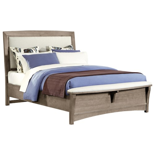 Vaughan Bassett Transitions Queen Upholstered Bed, Base Cloth Linen
