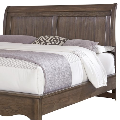 Vaughan Bassett Villa Sophia Queen Sleigh Headboard with Plank Style Panels