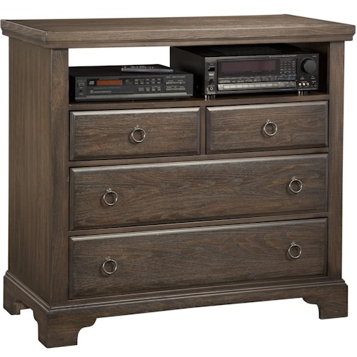 Vaughan Bassett Whiskey Barrel Distressed Finish Media Chest - 4 Drawers