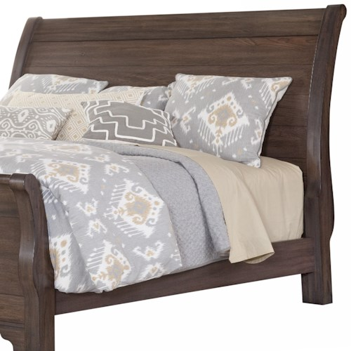 Vaughan Bassett Whiskey Barrel Distressed Queen Sleigh Headboard with Solid Wood Planks