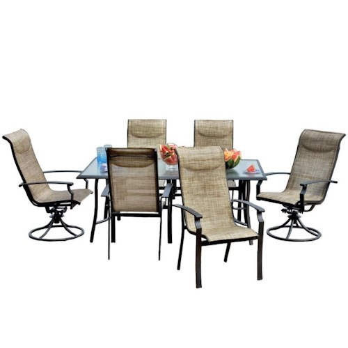 Veranda Classics by Foremost Harrison 7 Piece Outdoor Dining Set with Sling Chairs