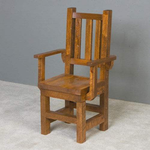 NorthShore by Becker Barnwood Trestle Arm Chair with Wood Seat made of Solid Pine