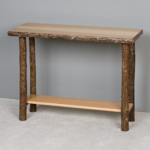 NorthShore by Becker Hickory Rustic Solid Hickory Sofa Table with One Shelf