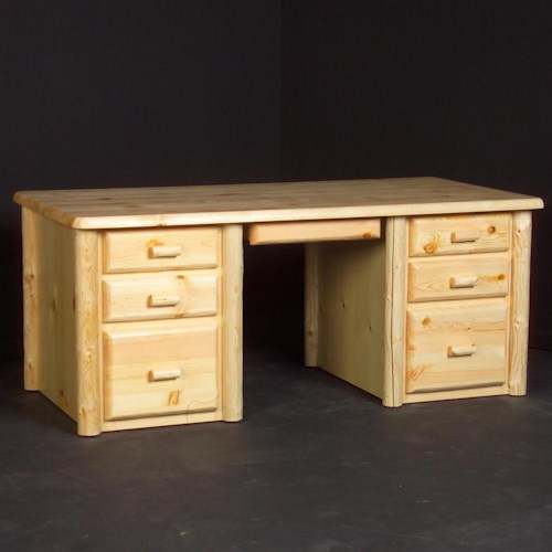 NorthShore by Becker Home Office Rustic Mission Desk with Six Drawers and Pencil Tray