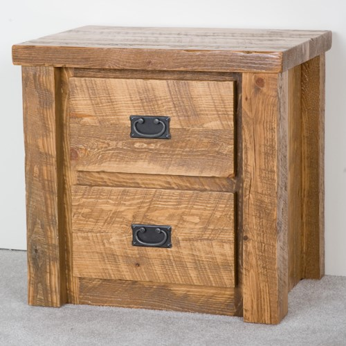 NorthShore by Becker Log Furniture Barnwood Two Drawer Night Stand