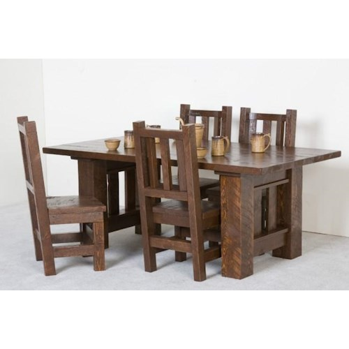 NorthShore by Becker Log Furniture Barnwood 5 Piece Table and Chair Set