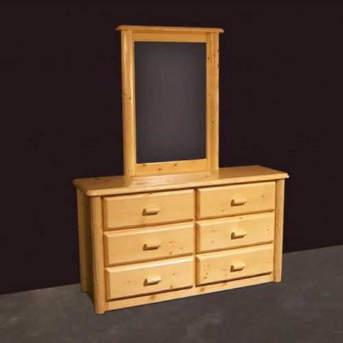 NorthShore by Becker Log Furniture Northwoods Six Drawer Dresser and Mirror