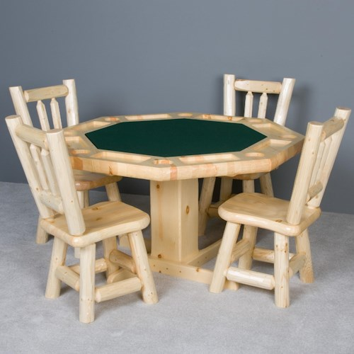 NorthShore by Becker Log Furniture Poker Table and Saddle Seat Chairs