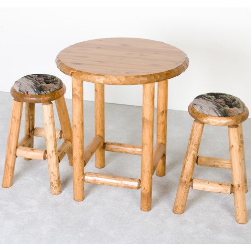 NorthShore by Becker Log Furniture Rustic Pub Table and Upholstered Stools Set