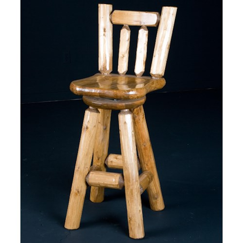 NorthShore by Becker Log Furniture Rustic 30 Inch Swivel Bar Stool with Wooden Saddle Seat