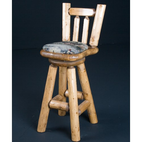 NorthShore by Becker Log Furniture Rustic 30 Inch Swivel Bar Stool with Upholstered Seat