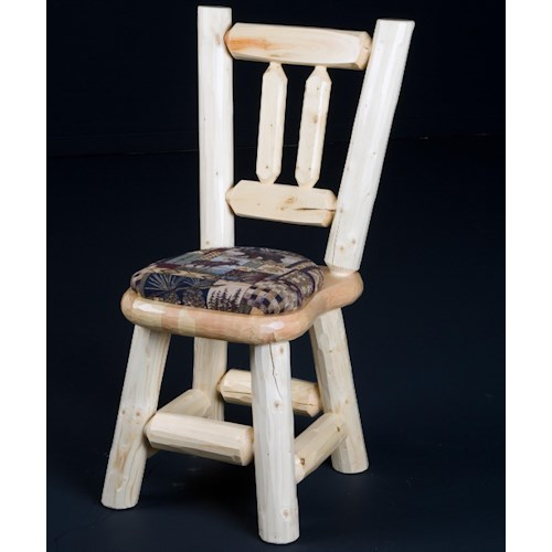NorthShore by Becker Log Furniture Rustic Log Dining Chair with Cushioned Seat
