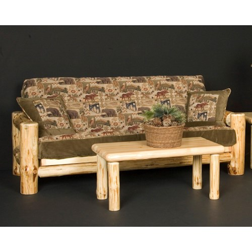 NorthShore by Becker Wilderness Rustic Full Futon with Included Mattress and Exposed Wood Frame
