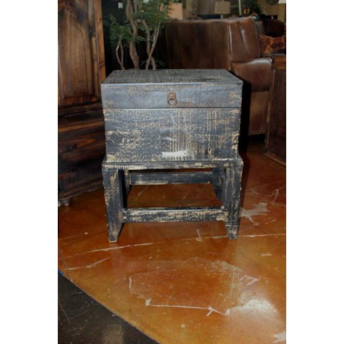Vintage Accents Scraped Black Storage Side Table