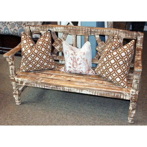 Vintage Accents Solid Wood Still White Bench