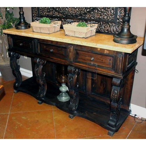 Vintage Accents Travertine Top Console Table