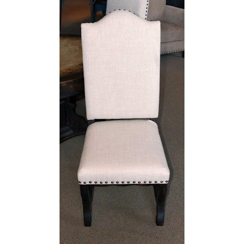 Vintage Accents Linen Dining Chair in Dark Stain