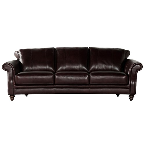 Becker 1950 3486A Leather Sofa with Rolled Arms and Turned Wood Legs
