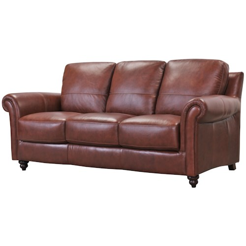 Belfort Select Grady Leather Sofa with Rolled Arms and Turned Wood Feet
