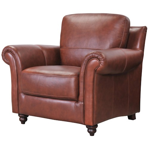 Belfort Select Grady Leather Chair with Rolled Arms and Turned Front Feet