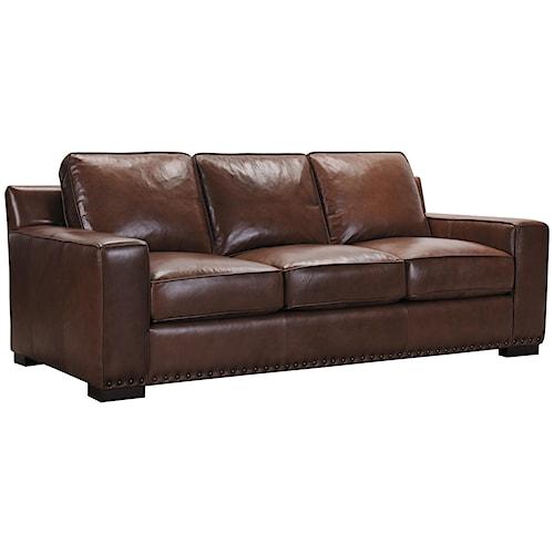 Belfort Select Patrick Brown Leather Sofa with Memory Foam Cushions