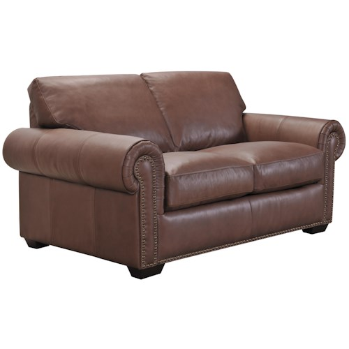 Belfort Select Taylor Traditional Brown Leather Love Seat with Memory Foam Cushions