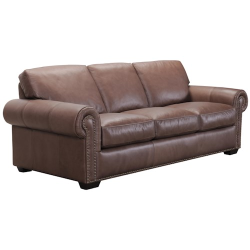 Belfort Select Taylor Traditional Brown Leather Sofa with Nail Head Trim