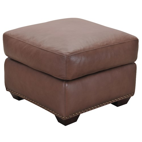 Belfort Select Taylor Brown Leather Ottoman with Nail Head Trim