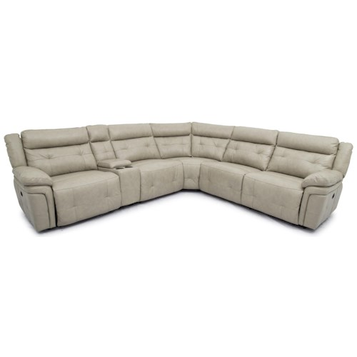 Warehouse M 9857 Top Grain Leather Match Reclining Sectional
